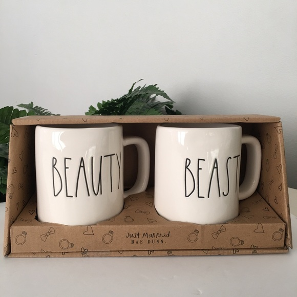 RAE DUNN Mugs Beauty And Beast Set Magenta Just Married LL
